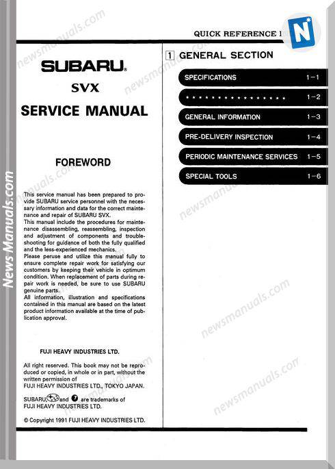 Subaru Models Svx C10 1992 Service Manual