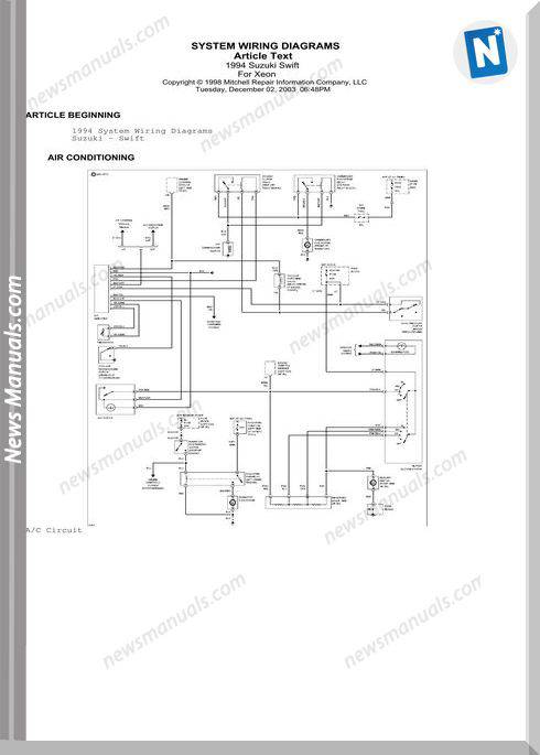 Suzuki Swift 1994 Wiring Diagrams