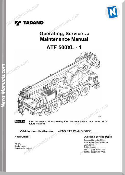 Tadano Atf 500Xl-1 Operators Service Maintenance Manual