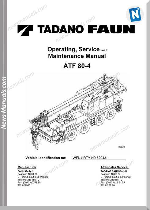 Tadano Atf 80-4 Operators Service Maintenance Manual