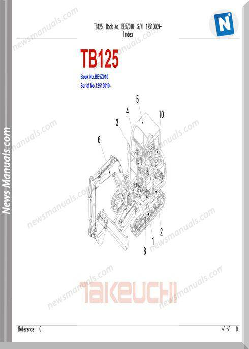 Takeuchi Compact Excavator Tb0125 Be5Z010 Parts Manual