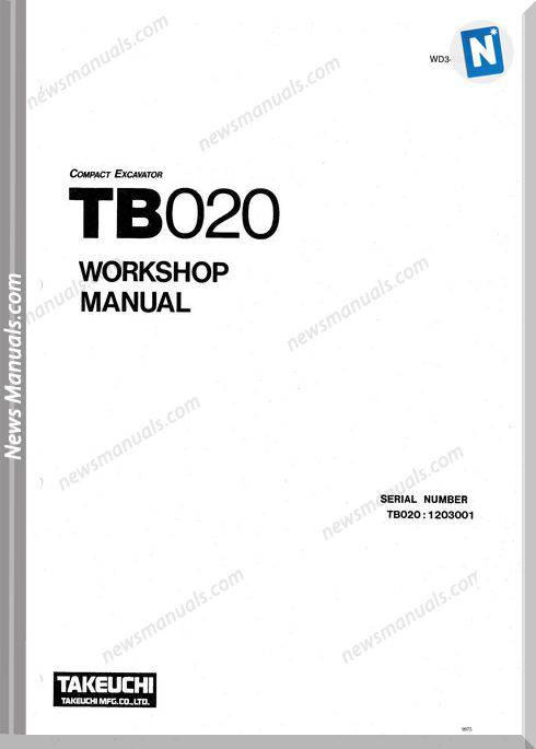 Takeuchi Compact Excavator Tb020 Workshop Manual