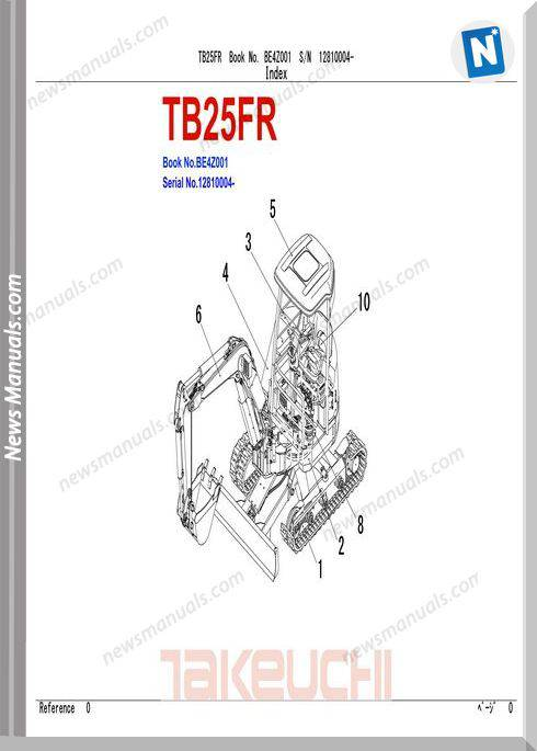 Takeuchi Compact Excavator Tb25 Fr Parts Manual