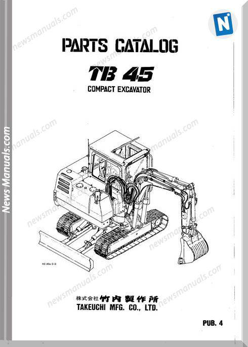 Takeuchi Tb228 Mini Excavator Parts Manual Download Sn 122800001 And Up