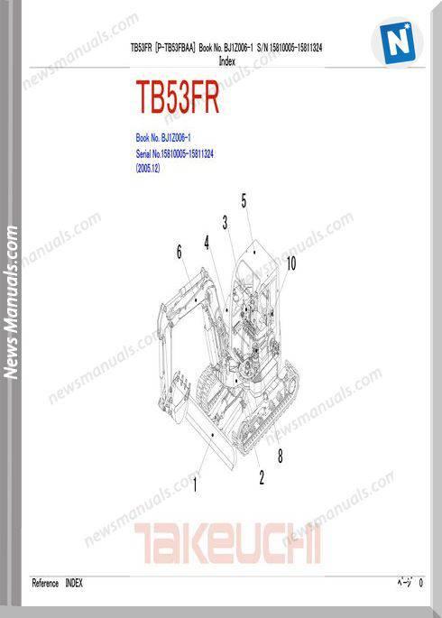 Takeuchi Compact Excavator Tb53 Fr Parts Manual