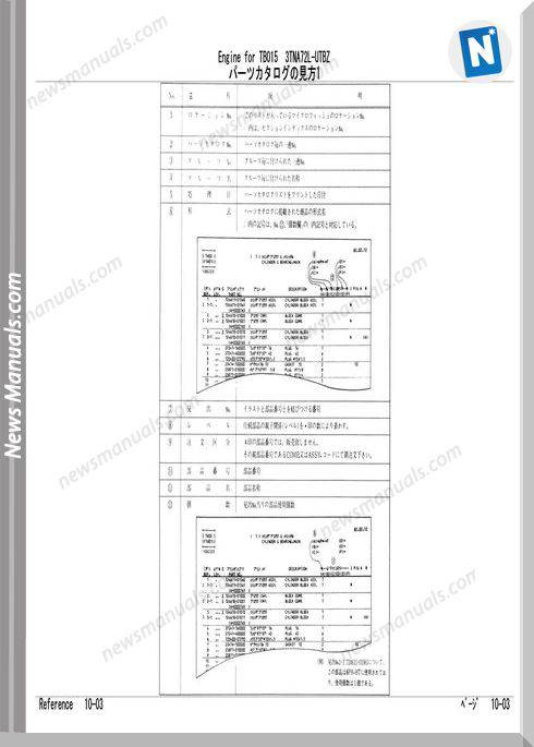 Takeuchi Engine For Tb015 Parts Manual