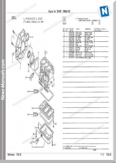 Takeuchi Engine For Tb15Fr Parts Manual
