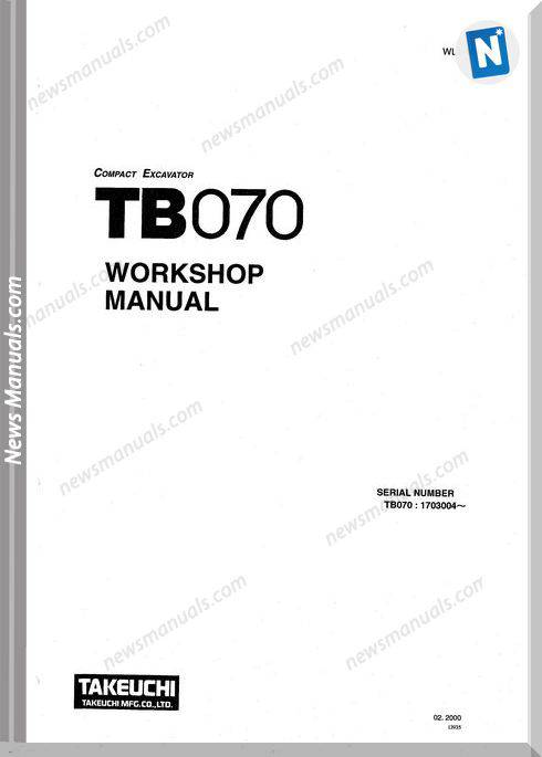 Takeuchi Excavator Tb070 Wl1-101E4 Workshop Manual