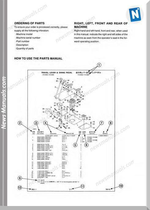 Takeuchi Excavator Tb150 Parts Manual