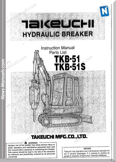 Takeuchi Hydraulic Tkb 51 51s Models Parts Catalogue