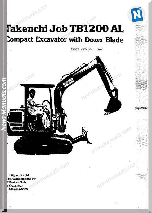 Takeuchi Job Tb1200Al Excavator Dozer Parts Catalogue