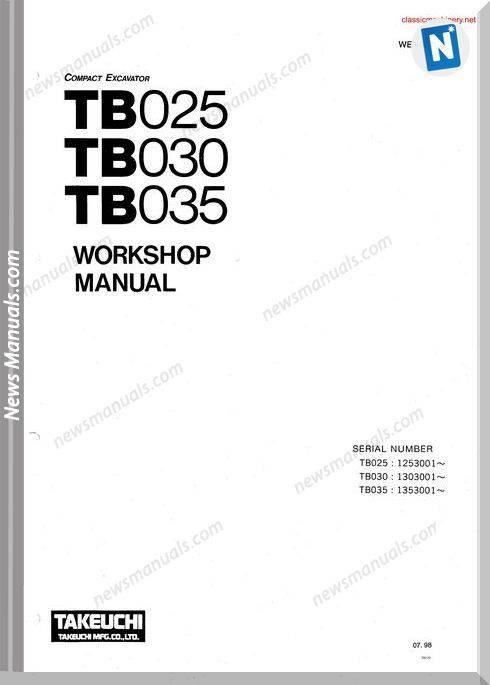 Takeuchi tb 025 tb 030 tb 035 Workshopmanual Sec Wat 1