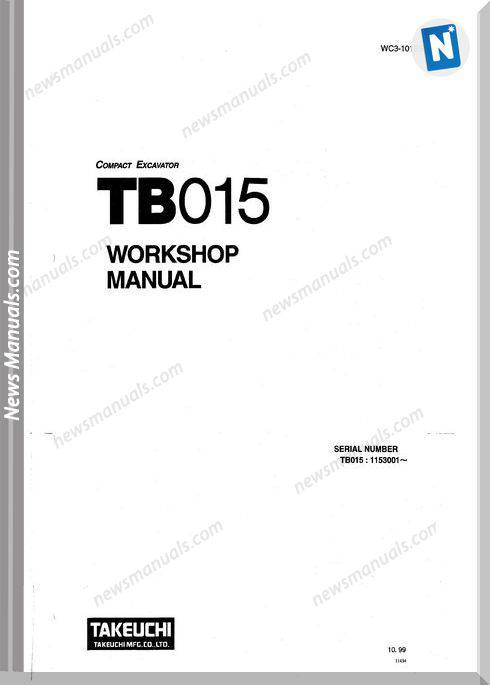 Takeuchi Tb015 Models Wc3-101E5 Workshop Manuals
