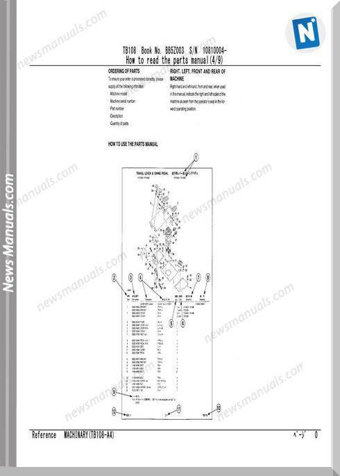 Takeuchi Tb108 Models Parts Manual