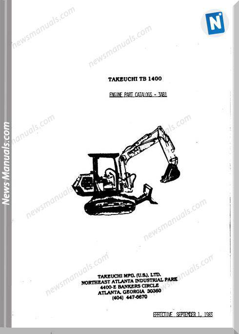 Takeuchi Tb1400 Models 3Ab1 Engine Parts Catalogue