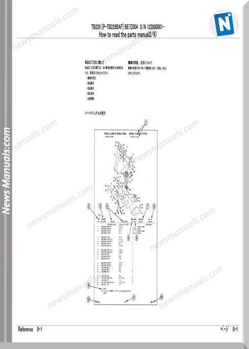 Takeuchi Tb228 Models Parts Manual