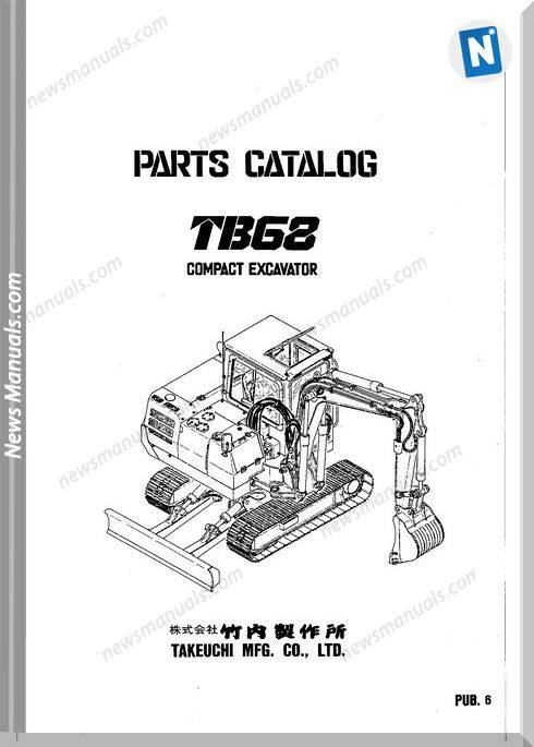 Takeuchi Tb68 Models Compact Excavator Parts Manual