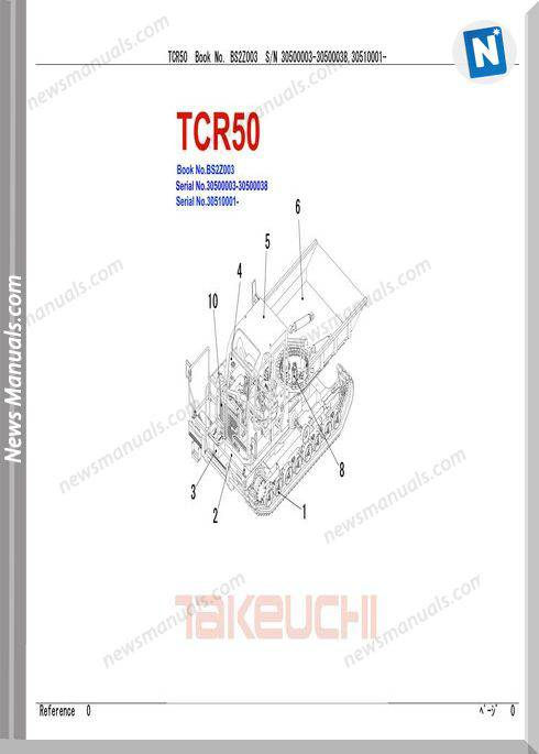 Takeuchi Tcr50 Models No Bs2Z003 Parts Manual