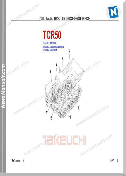 Takeuchi Tcr50 Models Nobs2Z002 Parts Manual