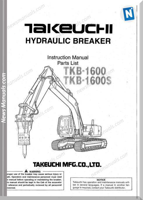 Takeuchi Tkb-1600, 1600S Hydraulic Breaker Parts Manual