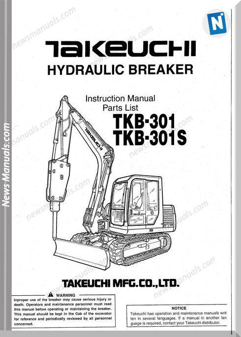 Takeuchi Tkb-301, 301S Hydraulic Breaker Parts Manual