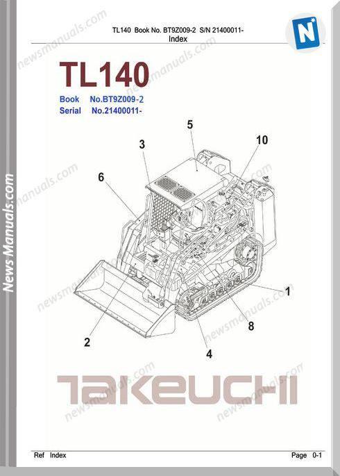 Takeuchi Tl140 Models Bt9Z009-2 English Parts Manuals