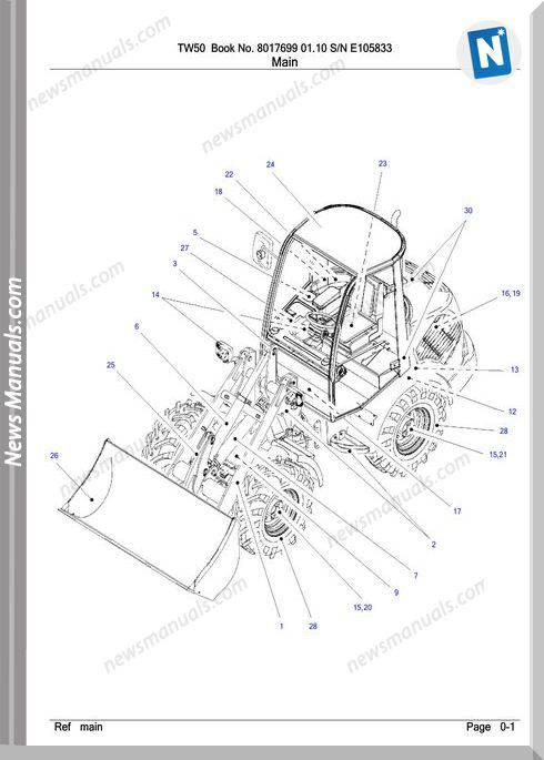Takeuchi Tw50 8017699 01.10 Sn E105833 Parts Manual