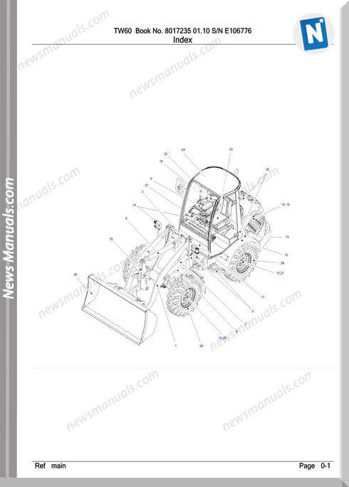 Takeuchi Tw60 8017235 01.10 Sn E106776 Parts Manual