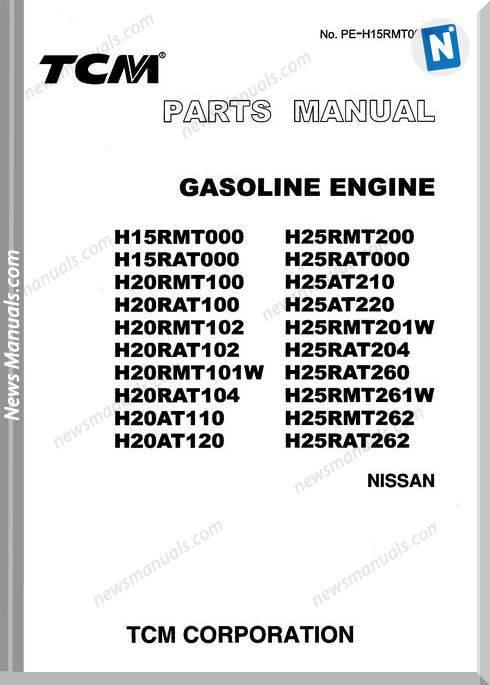 Tcm Diesel Engine H15Rmt000,H25Rmt200 Parts Manual