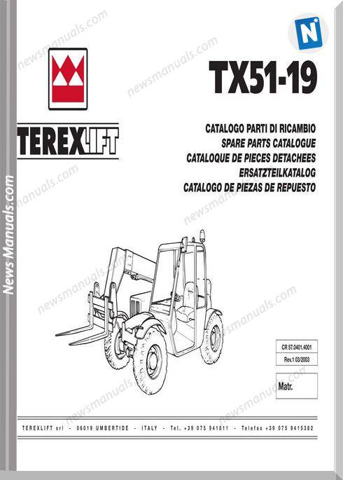 Terex Lift Tx51-19 Parts Manual