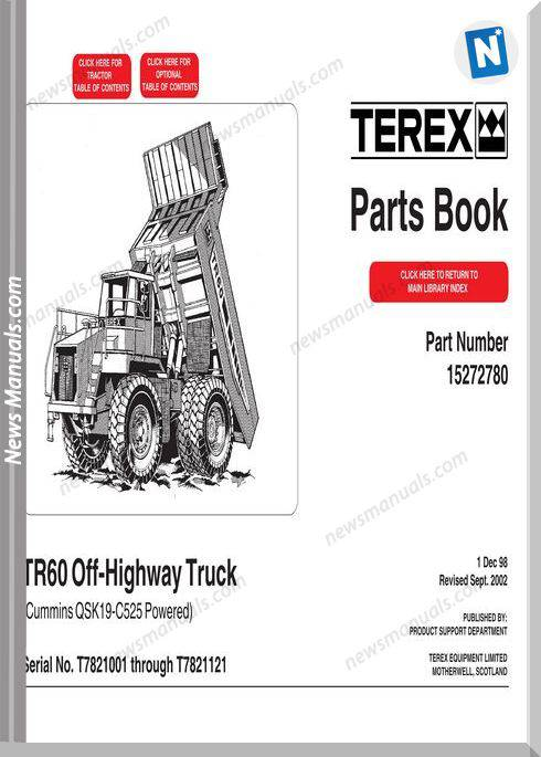 Terex Mini Rigid Trucks Tr60 7821 Part Manual