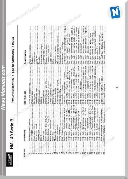 Terex Schaeff Hml40B-475 Parts Catalog