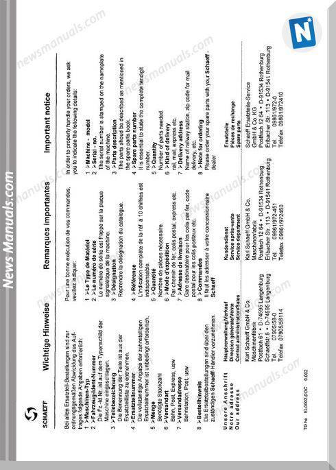Terex Schaeff Hml51S-El-0100 Parts Catalog