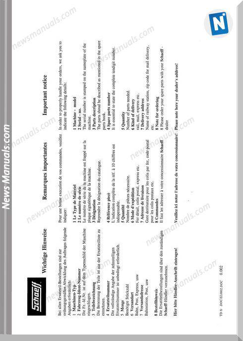 Terex Schaeff Skb1000,1000T-El-1998 Parts Catalog