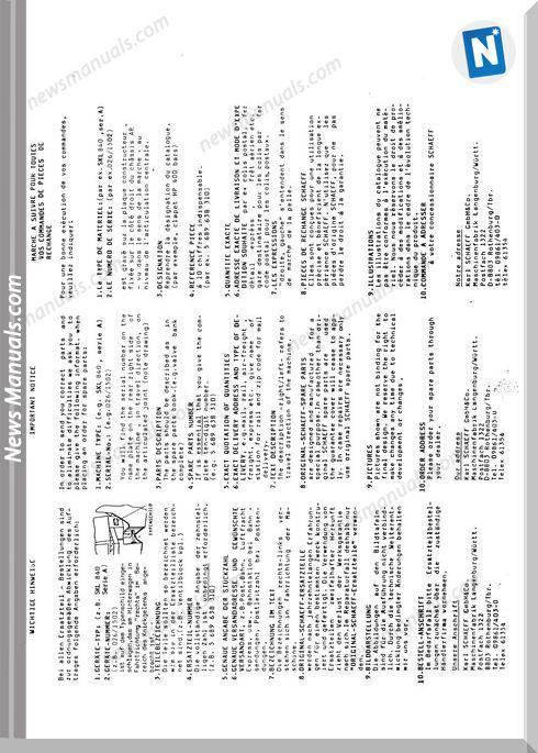 Terex Schaeff Skl840A-El-1500 Parts Catalog