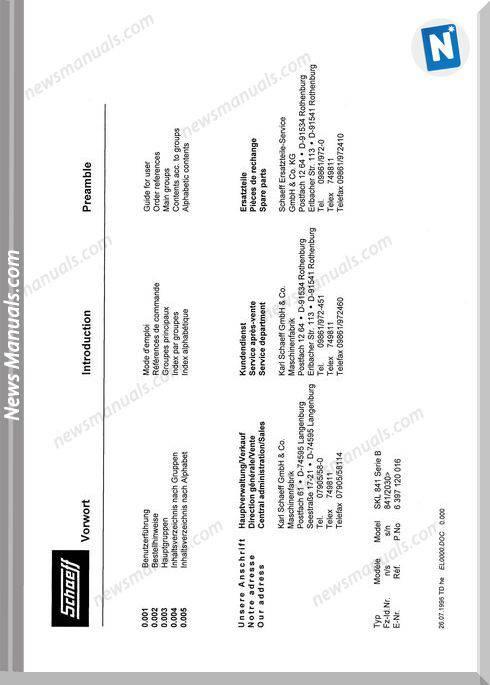 Terex Schaeff Skl841B-2030-El Parts Catalog