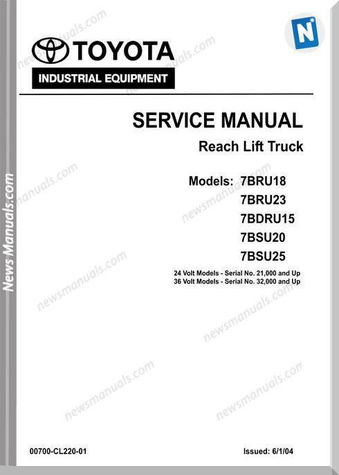 Toyota Bt 7Bru18-23 7Bsu20-25 7Bdru15 Repair Manual