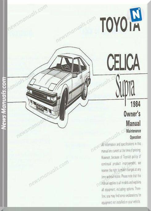 Toyota Celica Supra Mk2 84 Owners Manual
