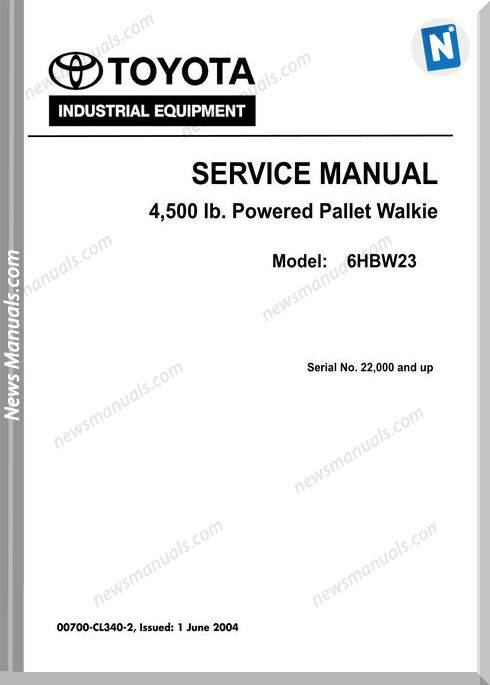 Toyota Forklift 6Hbw23 07000 Cl340-2 Service Manual