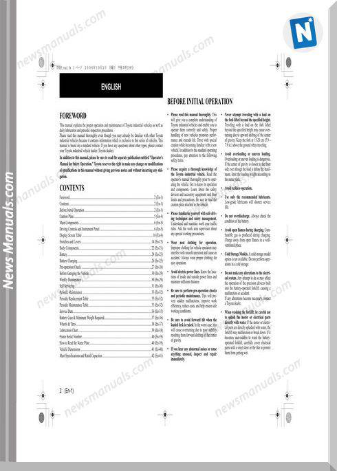 Toyota Forklift 7Fbef13 15 16 18 20 Operator Manual