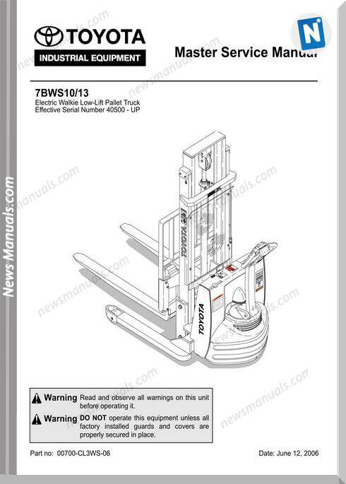 Toyota Forklift Bt 7Bws10-13 Repair Manual Cl3Ws-06