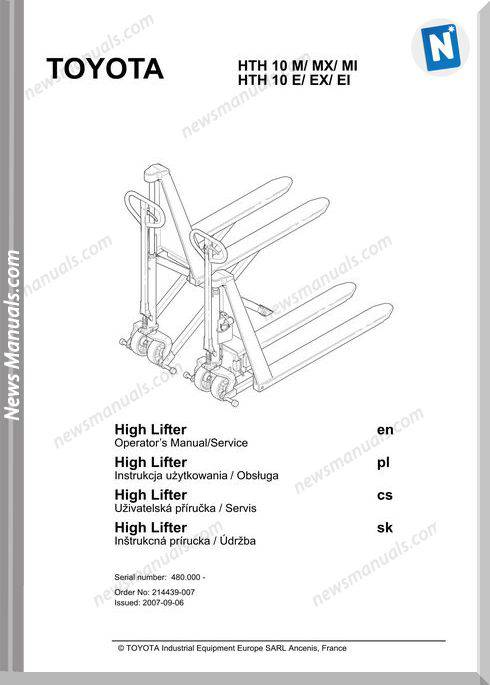 Toyota Forklift Hth10M E Operator Manual