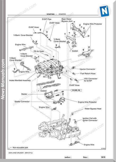 Toyota Land Cruiser 1998 2007 Starting Repair Manual