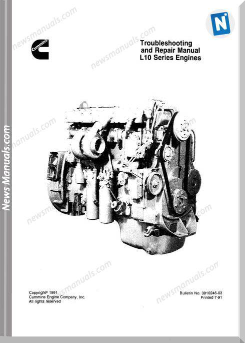 Trouble Cummins L10 Series Engine Repair Manual