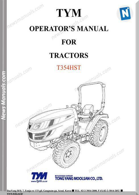 Tym T354Hst Models Operator Manual