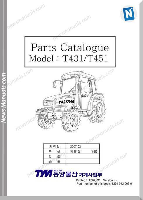 Tym T431 T451 Models Parts Catalog