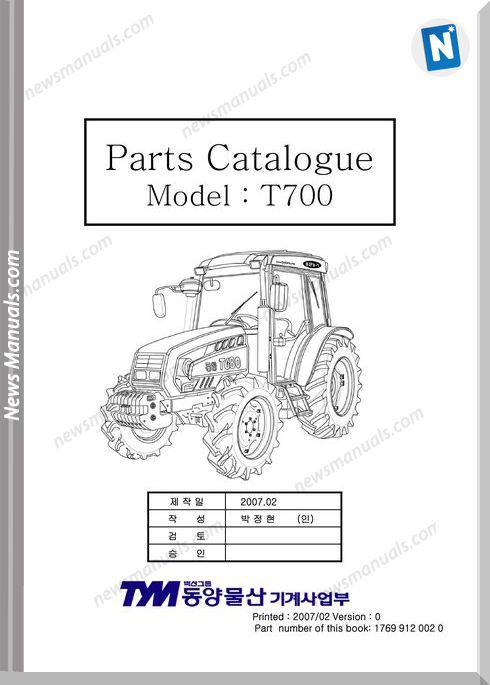 Tym T700 Models Parts Catalog