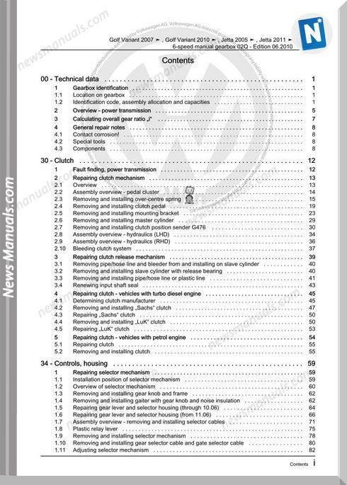 Volkswagen 6 Speed Manual Gearbox 02Q Workshop Manual