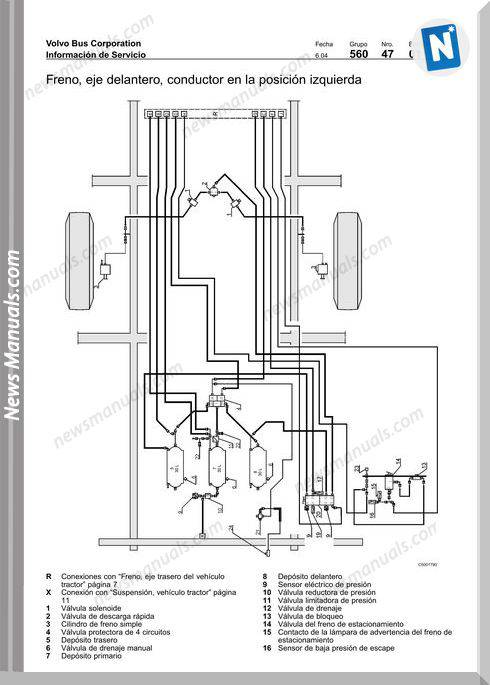 Volvo B12M Pneumatic Diagram Brake System Suspension