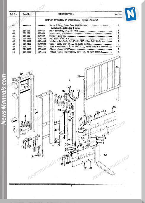 White Fork Lift Simplex Uprights Channel Parts Catalog